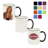 11 oz Colored Rim & Handle Ceramic Photo Mug