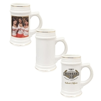 22 oz Ceramic Beer Stein with Gold Trim (White)