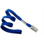Royal Blue Flat Blank Lanyard with Bulldog Clip