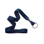 "5/8"" Navy Blue Flat Blank Lanyards with Black Split Ring"