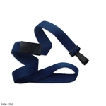 """5/8"""" Navy Blue Flat Blank Lanyards with Wide Plastic Hook"""