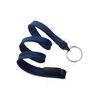Navy Blue Flat Blank Lanyard with split ring, breakaway