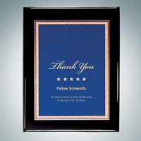 Black Royal Piano Finish Plaque - Blue Victory Plate