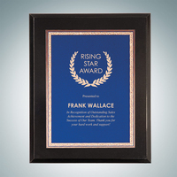 High Gloss Solid Black Plaque- Blue Victory Plate