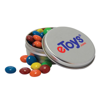 Candy Covered Chocolate Beads in Solid Top Tin