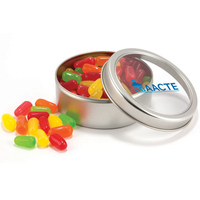 Candy Covered Chocoalte Beads in circular tin