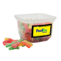 Assorted Gummy Worm Candy in small square tub