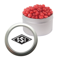 Silver Candy Window Tin with Cinnamon Red Hots