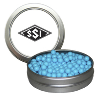 Silver Short Round Candy Tin with Colored Candy