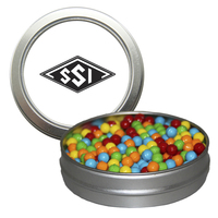 Silver Short Round Tin with Mini-Tarts Candy