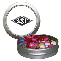 Silver Short Round Candy Tin with Chicle Chewing Gum