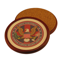 Round Wood Coaster with Leather Inlay and 4-Color Process