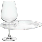 Round Party Plate With Built-In Stemware Holder, Plastic