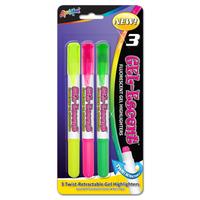 3 Pack Fluorescent Gel Highlighters