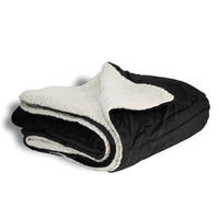 Black Oversized Sherpa Throw Blanket