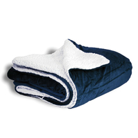 Navy Blue Oversized Sherpa Throw Blanket