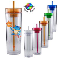 16oz Breeze Tumbler & Straw, four color process