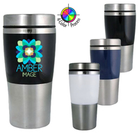 14oz Acrylic Stainless Travel Mug with Grip, four color