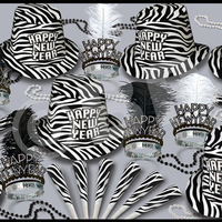 Zebra Print New Year's Eve Party Kit for 50