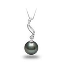 Diamond Spiral Pendant Necklace