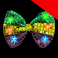 LED Mardi Gras Sequin Bow Tie Light Up