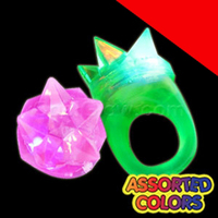 LED Jelly Spike Rings - Assorted Light Up