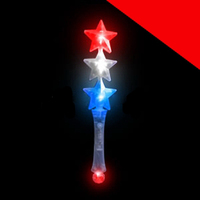 LED Triple Star Wand - Red-White-Blue Light Up