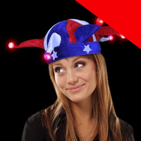LED Jester Hat - Red-White-Blue Light Up