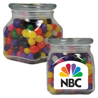 Small Glass Apothecary Candy Jar with Jelly Beans Candy
