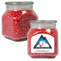 Glass Apothecary Candy Jar with Cinnamon Red Hots Candy