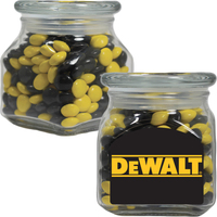 Glass Apothecary Candy Jar with Corporate Color Chocolates