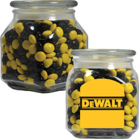 Glass Apothecary Candy Jar with Corporate Color Chocolate
