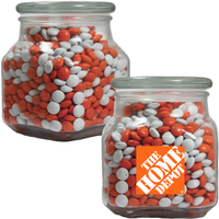 Large Glass Apothecary Jar with Corporate Color Chocolate