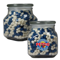 Large Glass Apothecary Jar with Corporate Jelly Beans Candy