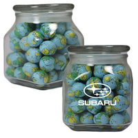 Glass Apothecary Candy Jar with Chocolate Sports Balls