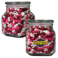 Large Apothecary Jar with Candy Hearts - Glass Jar