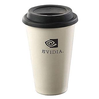 Coffee Mug Travel Ceramic Porcelain With Silicone Lid 12oz