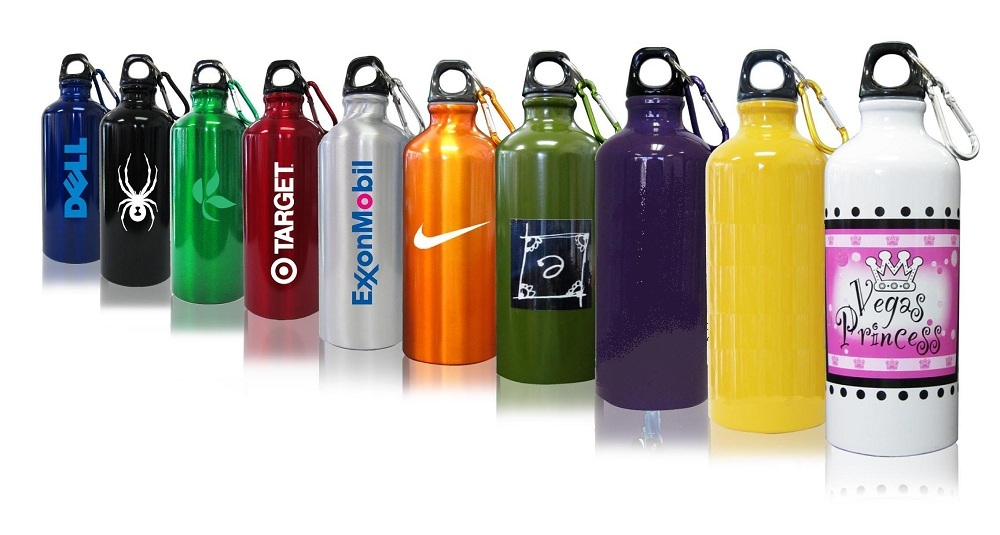 5f7f33434bc4 Metal Water Bottles w/ Carabiner, Full Color Available