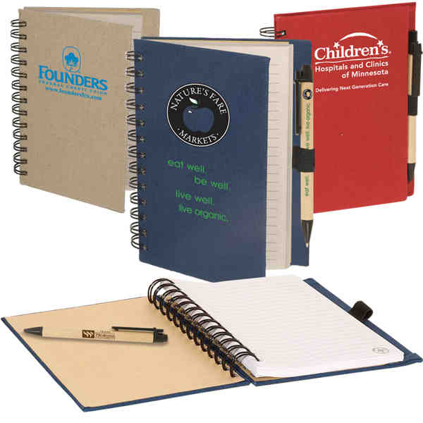 Item #PL-3569 Earth Saver, Eco-Responsible (TM) - Combination eco-green paper barrel pen paired with earth safe journal book.