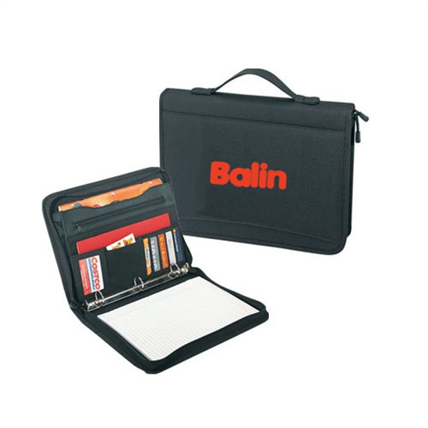 Item #B-8109 Poly Zippered 3 Ring Binder Padfolio