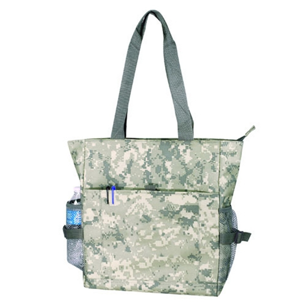 Item #B-82115 Poly Deluxe Digital Camo Zippered Tote Bag
