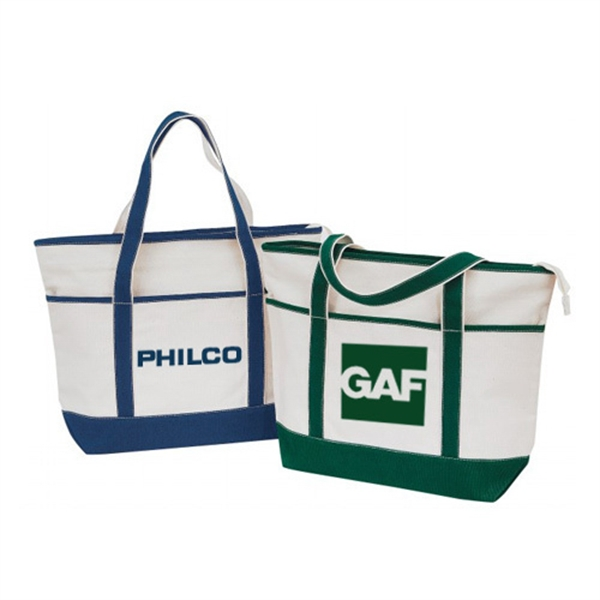Item #B-8213 Cotton Canvas Zippered Boat Tote Bag