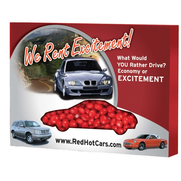 Item #ZBOX-CAR-RED Custom Window Box Car filled with Cinnamon Red Hots Candy