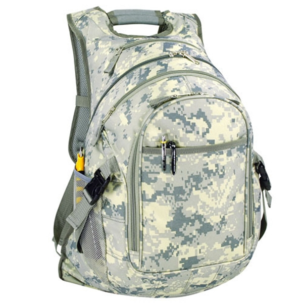 Item #B-8457 Poly Digital Camo Deluxe Computer Backpack