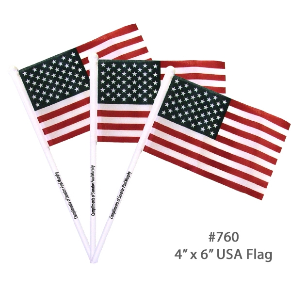 "Item #E760 FLAG USA USA American Flag With White Pole - 4"" x 6"""