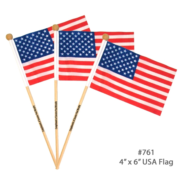 "Item #FLAG USA E761 USA American Flag With Wooden Pole 4""x 6"""
