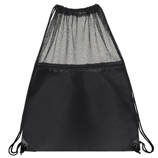 Item #B-6418 Poly Mesh Drawstring Backpack