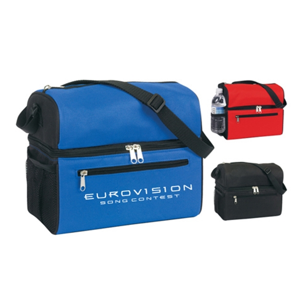 Item #B-6509 Poly Insulated Compartments Lunch Bag