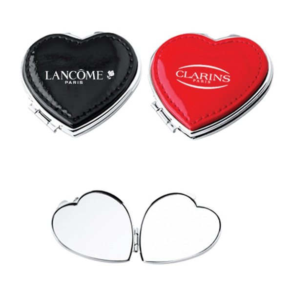 Item #AY-1007 Leather Stitched Heart Compact Mirror