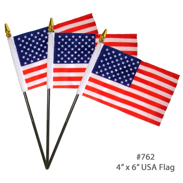 "Item #USA FLAG E760 USA American Flag With White Pole- 4"" x 6"" - Variety"